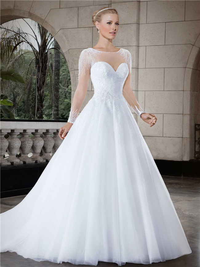 Ball Gown Queen Anne Neckline Illusion Back Tulle Plus