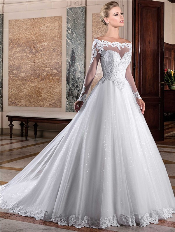 Charming Ball Gown Off The Shoulder Long Sleeve Lace Tulle Glitter Wedding Dress,Nice Short Dresses For Weddings