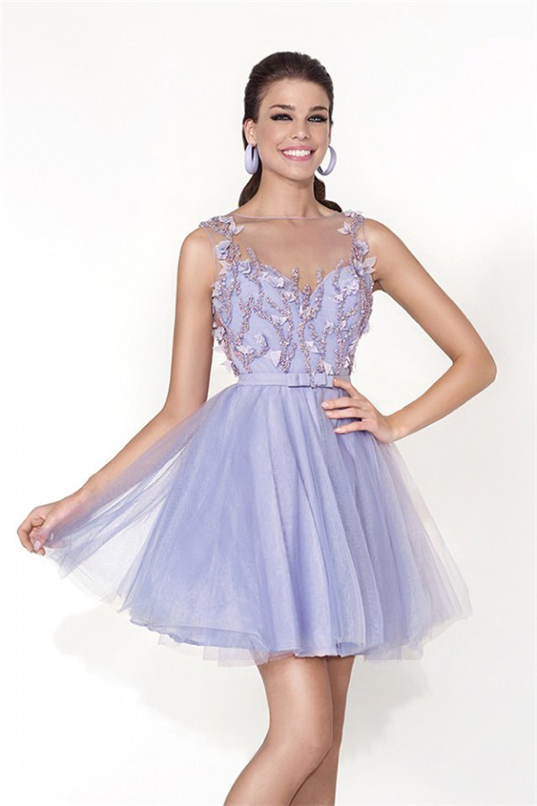 Short Beaded Lace Sweetheart Prom Dress - PromGirl