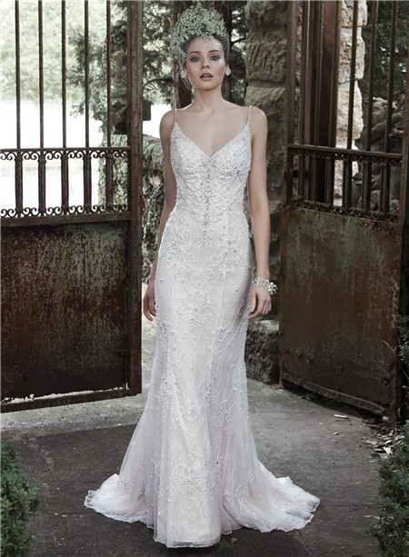 Elegant Fitted Sweetheart Low Back Lace Pearl Beaded Wedding Dress With Spaghetti Straps,Occasion Dresses For Wedding Guests Plus Size
