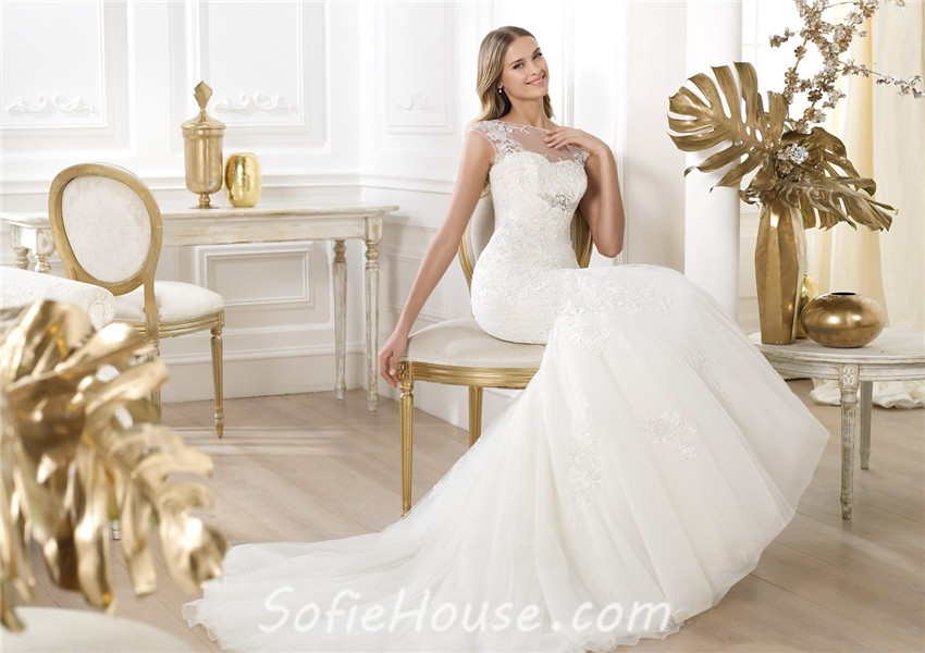Fitted Mermaid Sheer Illusion Neckline Cap Sleeve Open Back Tulle Lace Wedding Dress,Wedding Dresses Toronto Plus Size