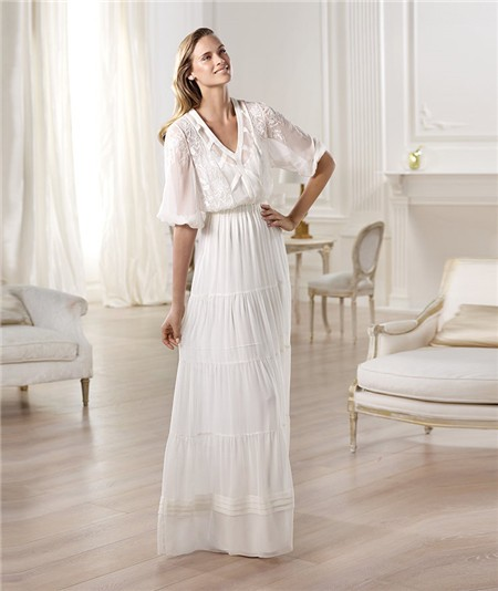 Informal Casual Sheath V Neck Short Sleeve Chiffon Garden Beach Wedding Dress