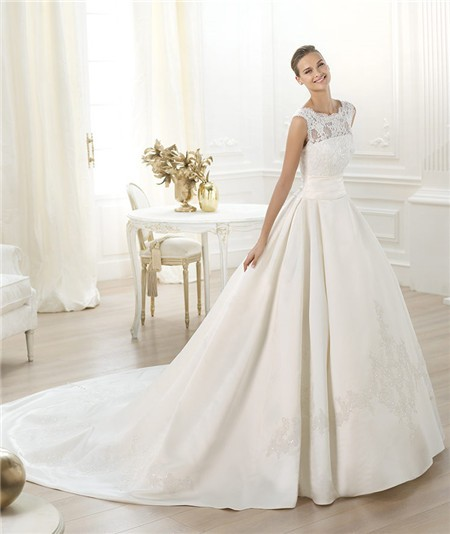 Modest Princess Ball Gown Bateau Neckline Lace Satin Wedding Dress With Long Train,Wedding Dresses With Sleeves And Pockets