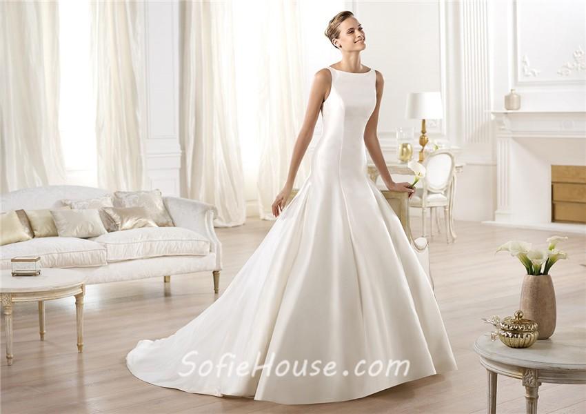 Modest Simple A Line Bateau Neckline Satin Wedding Dress With Buttons