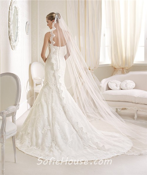 Romantic Mermaid Sweetheart Venice Lace Wedding Dress With
