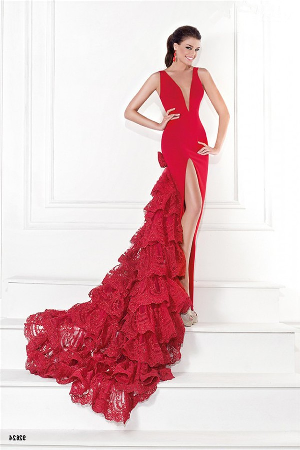Sexy Deep V Neck Low Back High Slit Red Lace Ruffle ...