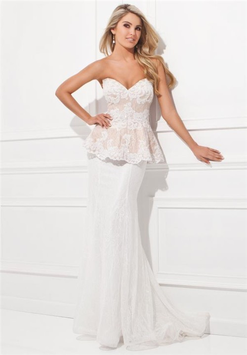 Long Ivory and Nude Lace Strappy-Back Prom Dress