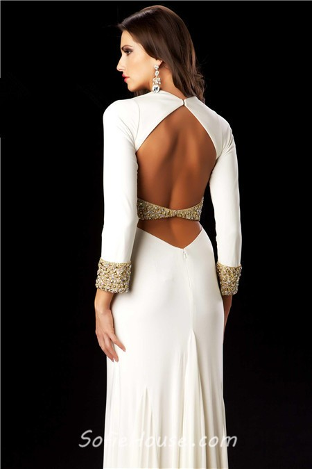Floor Length Low V-Neck Dress with Open Back | Backless