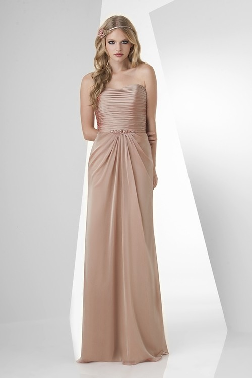 Ruched Champagne Chiffon Beaded Belt Bridesmaid Dress - VQ