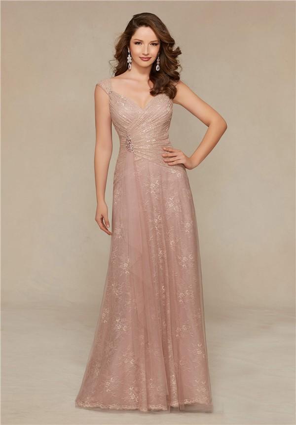 Sheath V Neck Cap Sleeve Long Blush Pink Lace Mother Of ...