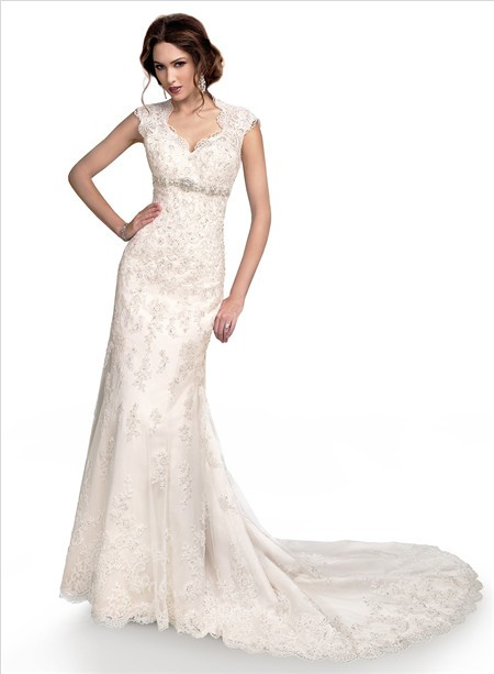 Slim Mermaid Cap Sleeve Empire Waist Lace Wedding Dress With Open Back