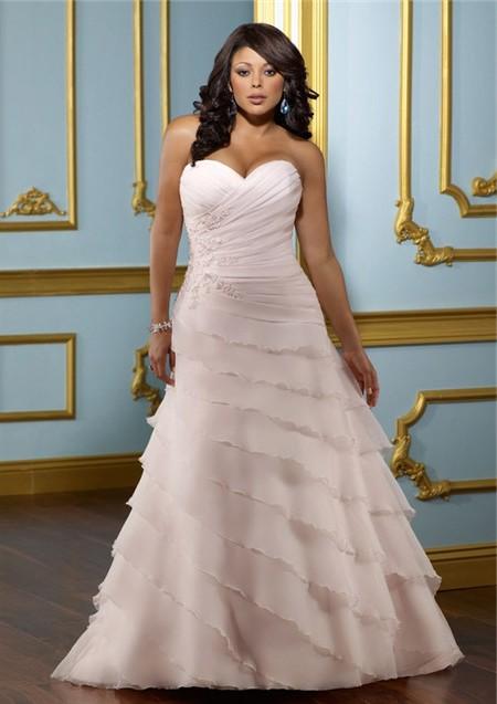 A Line Sweetheart Layered Blush Pink Organza Ruffle Plus Size Wedding Dress Corset Back,Wedding Bridesmaid Dresses Maroon