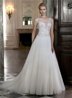 A Line Boat Illusion Neckline Sheer Back Sleeveless Tulle Beaded Wedding Dress