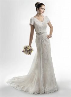 Modest Mermaid V Neck High Back Lace Wedding Dress With Short Sleeves Crystals Sash
