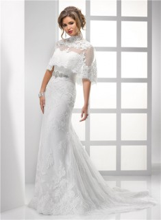 Pretty Sheath Strapless Vintage Lace Wedding Dress With Wrap Crystal Beading Sash