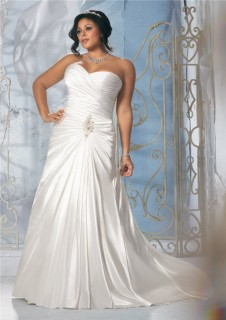 Princess A Line Strapless Sweetheart Ruched Satin Plus Size Wedding Dress Corset Back