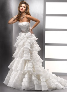 Unique A line Strapless Ivory Tiered Organza Ruffles Wedding Dress With Beading Sash