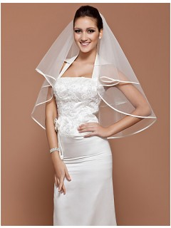 Simple Elegant White Plain Tulle Wedding Bridal Veil With Ribbon Edge