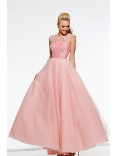 A Line Bateau Neck Cap Sleeve Long Pearl Pink Sequin Lace Tulle Prom Dress
