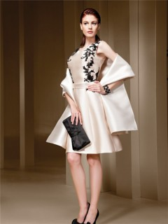 A Line Boat Neckline Champagne Satin Black Lace Applique Short Evening Dress With Shawl Belt