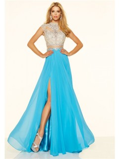 A Line Cap Sleeve High Slit Long Blue Chiffon Beaded Two Piece Prom Dress
