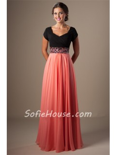 A Line Cap Sleeve Long Black And Coral Chiffon Evening Prom Dress Beaded Belt