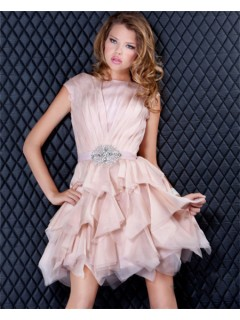 A Line Cap Sleeve Short Light Pink Organza Sweet Sixteen Cocktail Party Dress