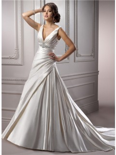 A Line Deep V Neck Corset Back Ivory Satin Ruched Wedding Dress With Crystal