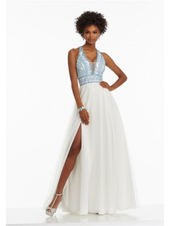 A Line Halter Side Slit White Tulle Light Blue Embroidery Prom Dress