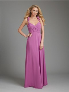 A Line Halter V Neck Long Purple Chiffon Wedding Guest Bridesmaid Dress With Ruffle