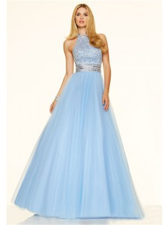 A Line High Neck Open Back Long Light Blue Tulle Beaded Prom Dress