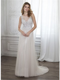 A Line Illusion Neckline Backless Tulle Lace Beaded Wedding Dress