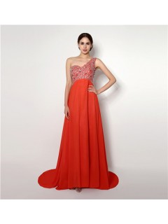 A Line One Shoulder Empire Waist Open Back Long Coral Chiffon Prom Dress