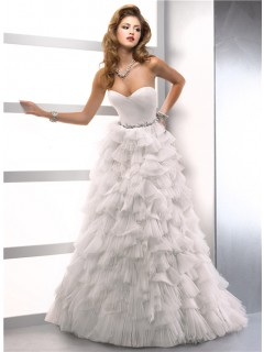 A Line Princess Sweetheart Organza Floral Wedding Dress With Feathers Crystals