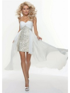 A-Line/Princess Sweetheart silver sequin prom dress with chiffon skirt