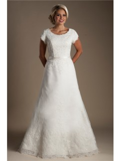 A Line Scoop Neck Cap Sleeve Tulle Lace Beaded Wedding Dress With Sash