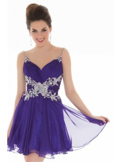 A Line Straps Short Lavender Purple Chiffon Unique Beading Cocktail Prom Dress