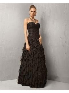 A Line Sweetheart Long Black Chiffon Ruffle Beaded Evening Wear Dress