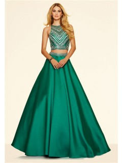 A Line Two Piece Long Emerald Green Satin Beaded Prom Dress