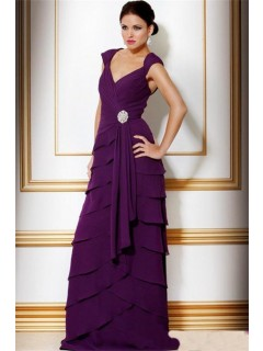 A Line V Neck Long Purple Tiered Chiffon Women Evening Wear Dress Cut Out