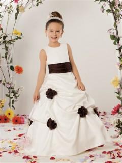 A-line Princess Scoop Floor Length Ivory Satin Designer Flower Girl Dress With Flowers Sash
