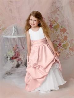 A-line Princess Scoop Floor Length Pink Taffeta Flower Girl Dress With Flowers