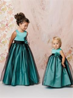 A-line Princess Scoop Floor Length Turquoise Taffeta Tulle Flower Girl Dress With Flowers Sash