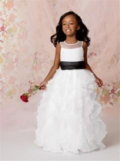 A-line Princess Scoop Floor length White Organza Flower Girl Dress with Ruffles Black Sash