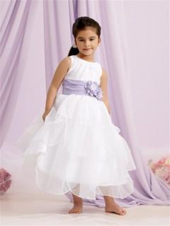 A-line Princess Scoop Tea Length White Organza Flower Girl Dress With Purple Flowers Sash