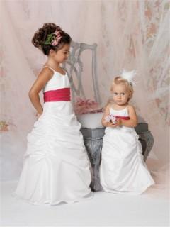 A-line Princess Spaghetti Strap Floor length White Taffeta Flower Girl Dress with Sash