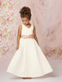 A-line Princess v neck Floor length Ivory Taffeta Flower Girl Dress with Flowers Sash
