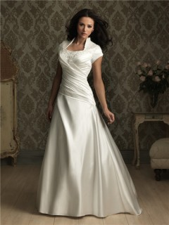 A line square court train cap sleeve silk satin wedding dress
