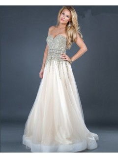 A line sweetheart long ivory tulle beaded evening dress with train