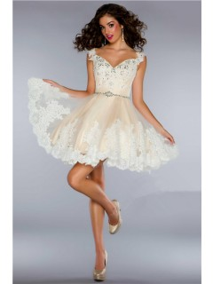 Ball Cap Sleeve Short/ Mini Nude Tulle Lace Beaded Homecoming Cocktail Dress